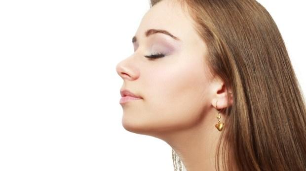 Woman smelling