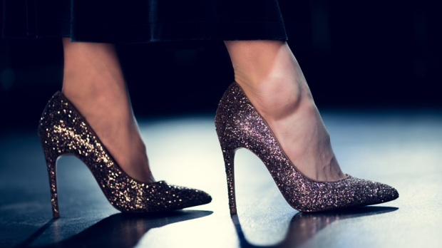 Woman in shoes with glitter