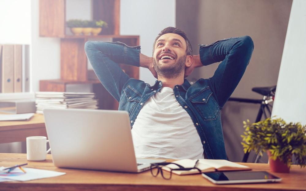 MAN HAPPY WORKING