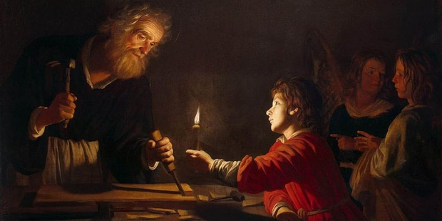 SAINT JOSEPH,CHILD,JESUS,CARPENTER