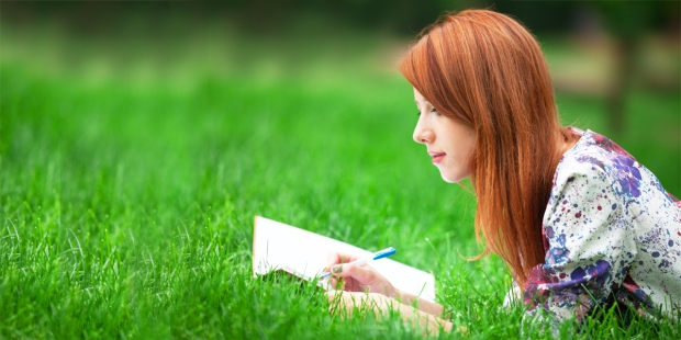 WOMAN,PARK,JOURNAL