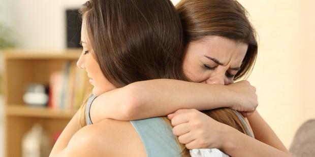 GIRL HUG SAD