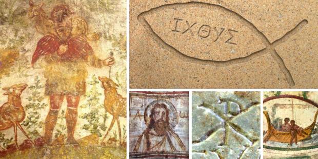 símbolos cristãos catacumbas