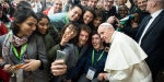 POPE FRANCIS GREETS YOUNG PEOPLE DURING A PRE-SYNODAL MEETING