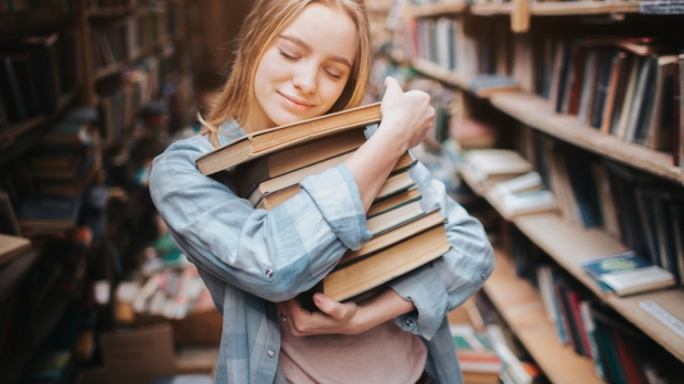 GIRL, BOOK, LIBRARY