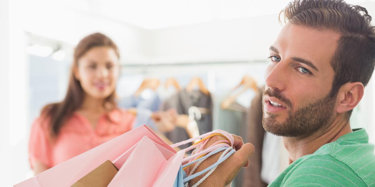 Man - Couple - Shopping - Bags - Bored