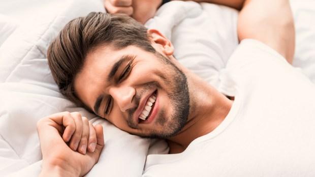MAN, SMILE, SLEEPING
