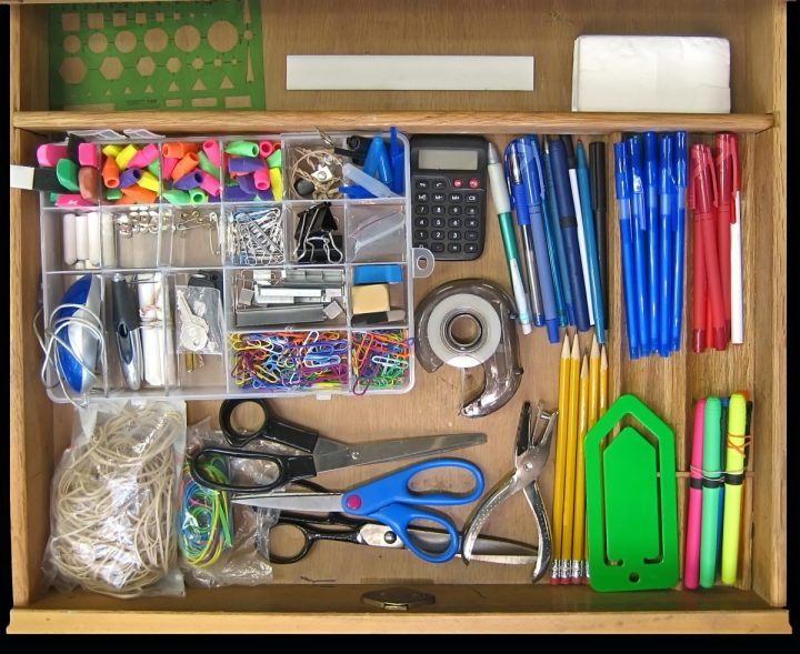 DRAWER FULL OF SCHOOL SUPPLIES
