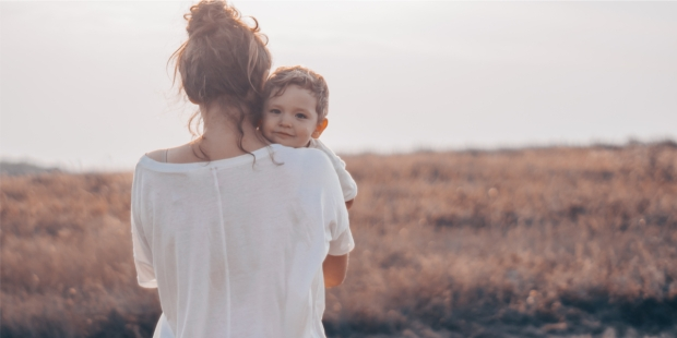 YOUNG WOMAN AND SON,